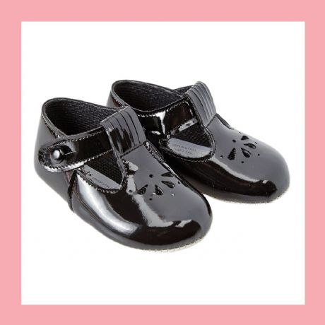 Girls Black Patent T-Bar Baypod Pram Shoes